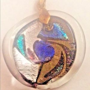 Handmade Art Jewelry - Multicolored Artist Glass Pendant for Necklace